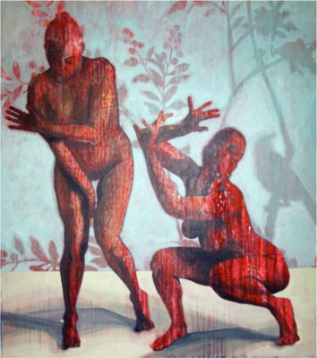 """Red Women"" Acrylic on canvas, 72 x 60 inches, Signed"