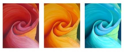 """Fanfare 3"" 2012, Triptych, Oil on canvas, each 30 x 24 inches, Signed on the side, Blue and Yellow in Private Collection"