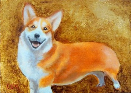 """Corgie"" Oil & Gold leaf on wood block, 5.5 x 7.5 inches, Signed"