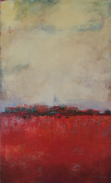 """Red Field"" Mixed media on canvas, 48 x 30 inches, Gallery wrap canvas, Sides painted, Signed lower right 
