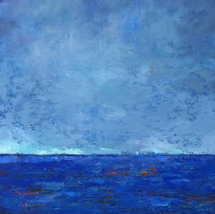 """Blue Seascape"" Mixed media on canvas, 36 x 36 x 1.5 inches, Gallery wrap canvas, Sides painted, Signed lower right 