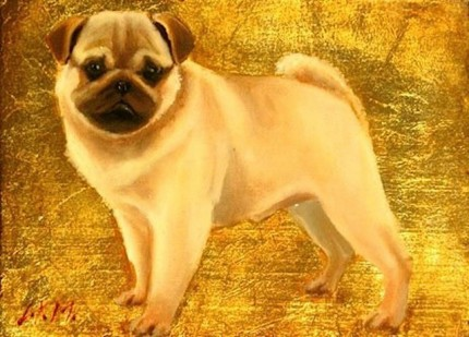 """Pug I"" Oil & Gold leaf on wood block, 5.5 x 7.5 inches, Signed"