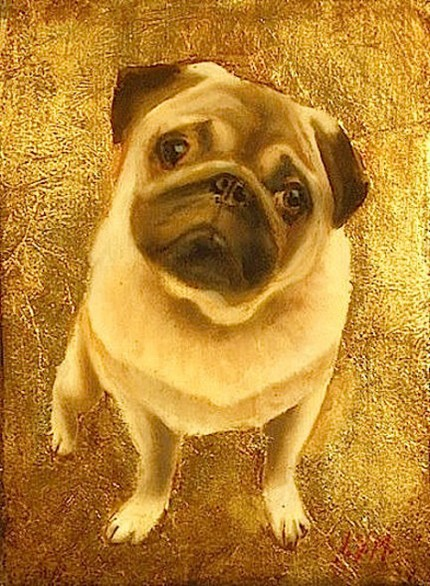 """Pug II"" Oil & Gold leaf on wood block, 7.5 x 5.5 inches, Signed"