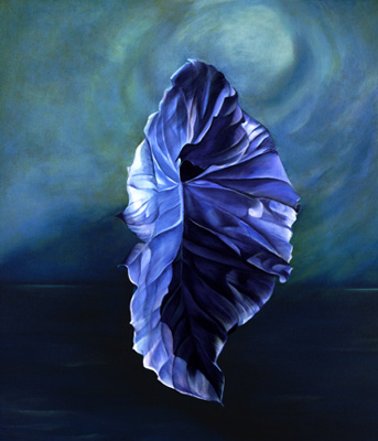 """Rhythm in Blue"" Oil on canvas, 40 x 30 inches, Signed, Private Collection"