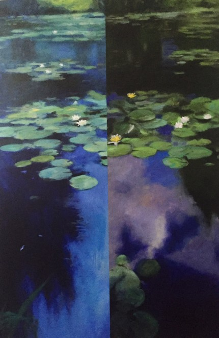 """Water Lilies I"" Oil and mixed media on canvas, 60 x 40 inches, Signed lower left"