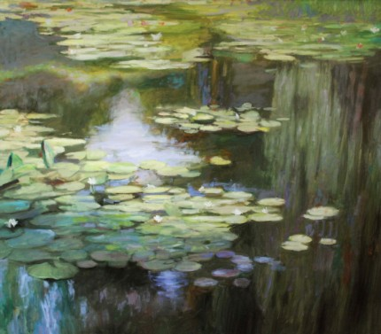 """Lilies: Reflections #2"" Oil on canvas, 50 x 56 inches, Signed"