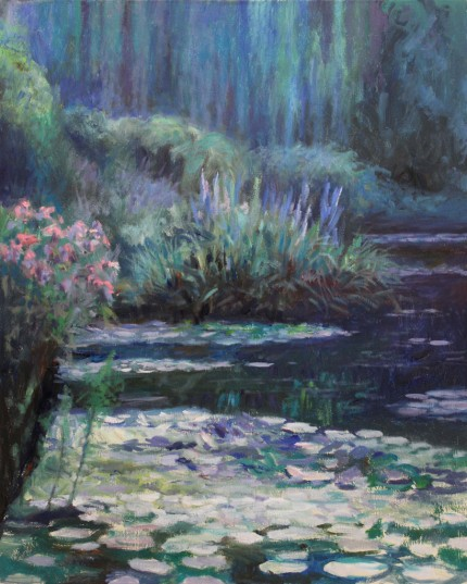 """Lilies: Reflections #3"" Oil on canvas, 48 x 38 inches, Signed"