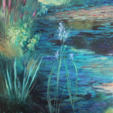 """Lilies: Reflections #6"" Oil on canvas, 36 x 36 inches, Signed"