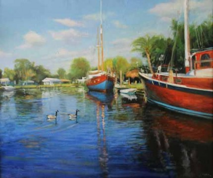 """The Blue Boat"" Oil on canvas, 45 x 58 inches, Signed"