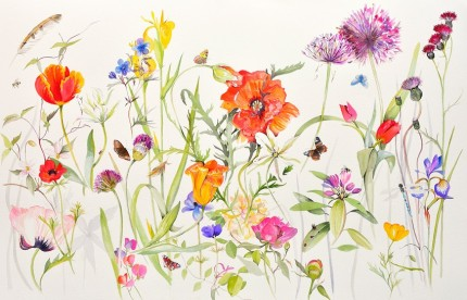 """Early Summer"" Watercolour on paper, 30 x 60 inches, Signed in pencil"