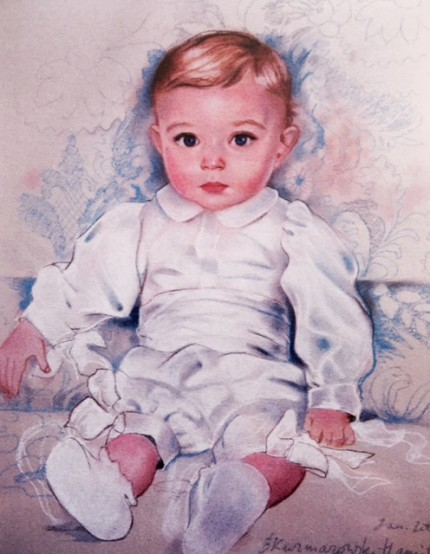 """Barron Trump"" 2007, Son of Donald and Melania Trump, Pastel on paper, 26 x 23 inches, Signed"