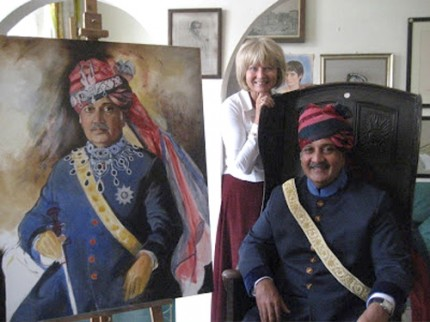Basia Hamilton with The Maharaja of Jodhpur