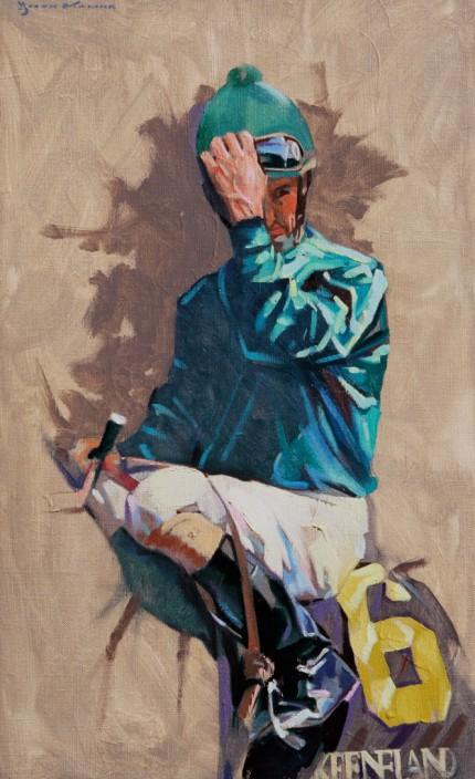 """Jockey: Albarado"" Oil on linen, 18 x 11 inches, Signed"