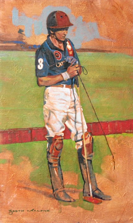 """Polo Player, Standing"" Oil on linen, 18 x 11 inches, Signed"