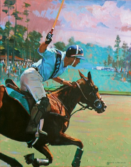 """Polo Player at Gallop"" Oil on linen, 25 x 20 inches, Signed"