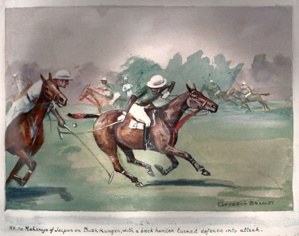 HH the Maharaja of Jaipur on Bush Kanger, with a back hander turned defence into attack