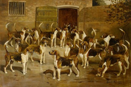 """The Ledbury Hounds"" Oil on canvas, 24 x 36.25 inches, Signed & Dated 'Cuthbert Bradley 1913' (lower right); indistinctly inscribed with dog's names on inner frame."