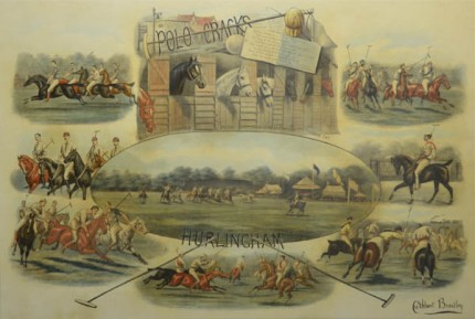 """Polo Cracks, Hurlingham Fores"" London: July 2, 1888, Hand-colored lithograph, 18.75 x 27.75, Border: 25.25 x 34 inches, Signed lower right"