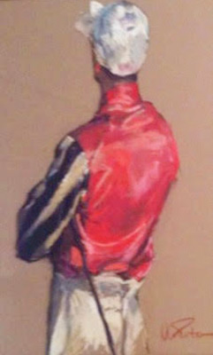 """""""Jockey Study (Greentree Stable Silks)"""" Pastel on paper, 35 x 23 inches, Signed"""
