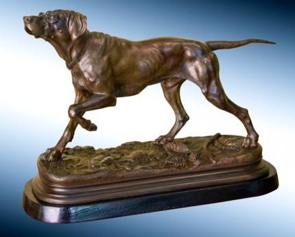 """A Bronze Figure of a Setter Pointing"" Bronze, Brown patina, 12.5 x 17 x 7 inches, Signed on base"