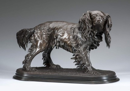 """King Charles Spaniel"" Bronze, Rich brown patina, 14.5 x 23.5 inches, Signed"