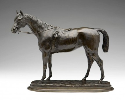 """Saddled Racehorse"" Bronze, Golden brown patina, 11.75 x 15 inches, Signed"