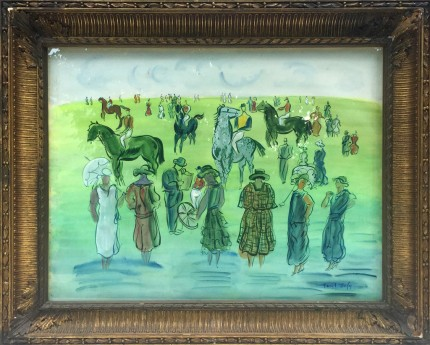 """At The Races, after Raoul Dufy"" Watercolour, 20 x 26 inches, 30 x 35 inches, Signed lower right DUFY, Signed on back ELMYR, Rare & Scarce, Provenance: Countess von Merverldt, Kristina Matson"