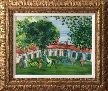 """In The Paddock, after Raoul Dufy"" Watercolour, 20 x 26 inches, 27 x 33 inches, Signed lower right DUFY, Signed on back ELMYR, Rare & Scarce, Provenance: Countess von Merverldt, Kristina Matson"