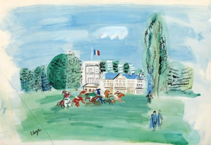 """Racetrack after Raoul Dufy"" Watercolour, 20.7 x 29.9 inches, Signed 'Elmyr' lower left"