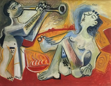 """The Trumpet Player by Picasso"" Oil on panel, 28 x 36 inches, Signed recto & verso"