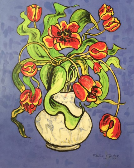 """Dancing Tulips"" Limited Edition on canvas, Edition: 2/45, 40 x 30 inches, Signed & Dated 2003"