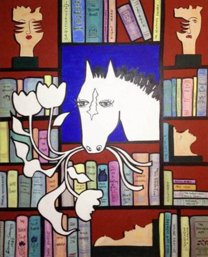 """Literary Horse Brown Study"" Acrylic on canvas, 62 x 48 inches, Signed lower left: Edwina Sandys 1989"