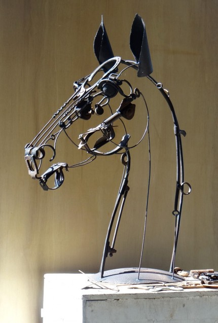 """Eli"" Welded Metal, 38 x 30 x 15 inches, Signed"