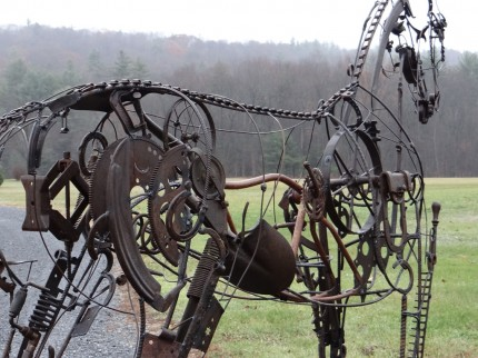 """Yearling"" Life Size, Found objects & Welded steel, H 7' 11"" x L 10' x W 2'"