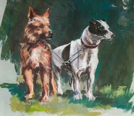 """""""Hunt Terriers"""" Pastel on paper, 18 x 19 inches, Signed"""
