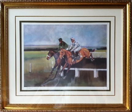 """Over the Last at Lark Hill"" Limited Edition Lithograph, Edition: 7/250, 19 x 25 inches, 27 x 32 inches, Signed & Numbered in pencil, Triple bevel mat & Gold frame"
