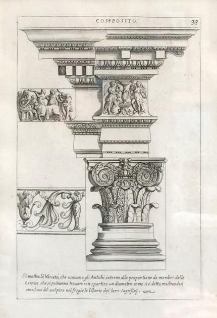 Antique Architectural, 1682 Engraved plates from the publication: Les edifices antiques de Rome dessinés et mesurés très exactement (Paris 1682), 13 x 9 inches, 22 x 17 inches, Matted & Framed