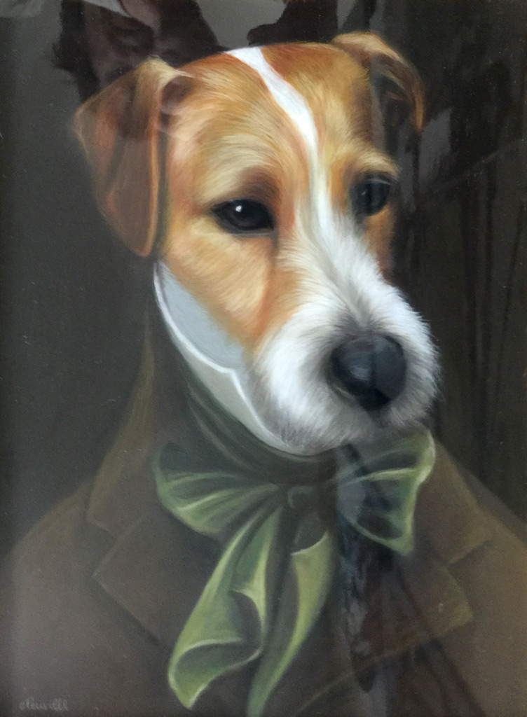 """""""Fox Terrier"""" Pastel, 13 x 10 inches, 21 x 17.5 inches, Signed"""