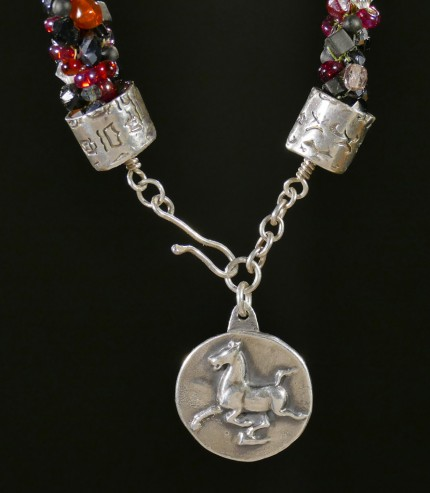 """Flying Horse Beaded Necklace"" Overall length: 28.5"", Flying Horse Pendant: 1"" Diameter, Price: $600, Chisholm Ref. #: SBW-N4 
