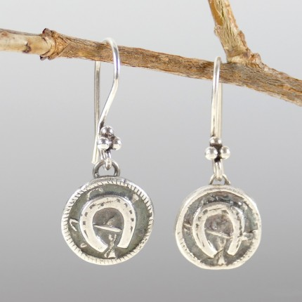 """Horseshoe Button Earrings"" Overall Length: 1.25"", Price: $149, Chisholm Ref. #: SE5 - Earrings inspired by an antique button, hand crafted in .960 silver. Ear wires are sterling silver (.925)."