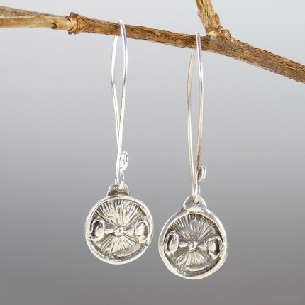 """Snaffle Bit Earrings"" Overall length:  2"", Price: $149, Chisholm Ref. #: SE6 - Snaffle bits are the motif in these round earring on long ear wires. Earrings are hand crafted in .960 silver. Ear wires are sterling silver (.925)."