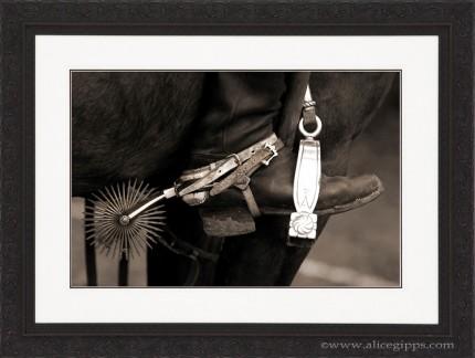 """Argentine Tack III"" Sepia, framed"
