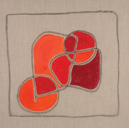 """Fields of Life III"" Acrylic & Charcoal on raw linen, 30 x 30 x 1 inches, Panel, Signed"