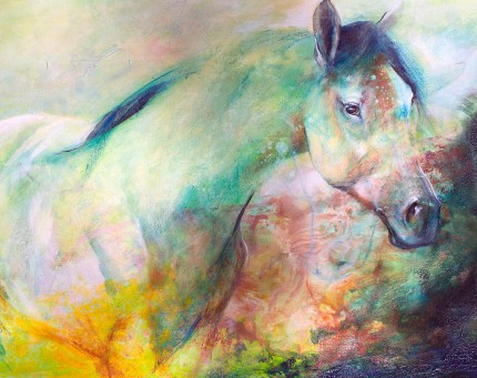 """Western Green"" Mottled Horses Series, Acrylic & Oil pastels on canvas, 24 x 36 inches, Signed"