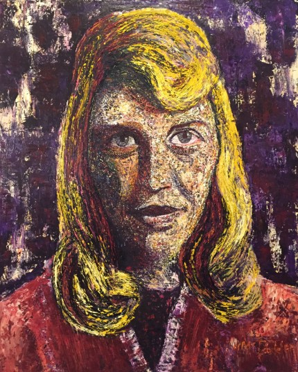 """""""Sylvia Plath - If I have not the power to put myself in the place of other people, but must be continually burrowing inward, I shall never be the magnanimous creative person I wish to be. Yet I am hypnotized by the workings of the individual, alone, and am continually using myself as a specimen."""" Richly textured oil on canvas using a palette knife, 39.5 x 31.5 inches, Signed"""