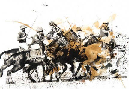 """British Polo Day - Mixed Media 3"" Jodhpur, India 2013, Archival pigment print with original coffee and ink painting on handmade Indian rag, 16.5 x 11.7 inches"