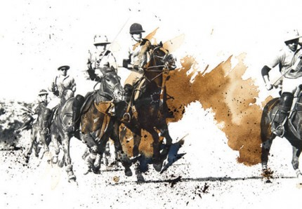 """British Polo Day - Mixed Media 4"" Jodhpur, India 2013, Archival pigment print with original coffee and ink painting on handmade Indian rag, 16.5 x 11.7 inches"