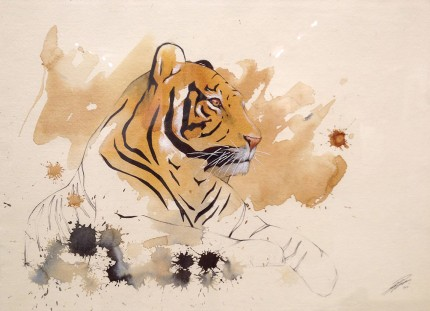 """Tiger II"" Coffee & Ink, Signed"