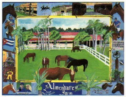 """""""Almendares Farm"""" Mixed media on Arches paper, 18 x 24 inches, Signed lower right"""