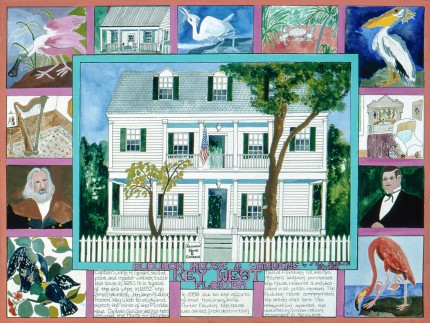 """""""Audubon House & Gardens, Key West, Florida"""" Mixed media on Arches paper, 22 x 30 inches, Signed lower right"""